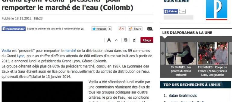 Le marché de l'eau de Lyon va de nouveau à Veolia
