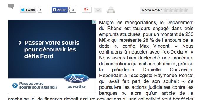 Emprunts toxiques : encore 233 millions d'euros pour le département du Rhône