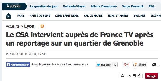 Le CSA critique France 2 pour son reportage sur le quartier de la Villeneuve à Grenoble