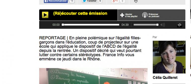 Immersion sonore dans une classe de Villeurbanne où l'»ABCD de l'égalité» est mis en place