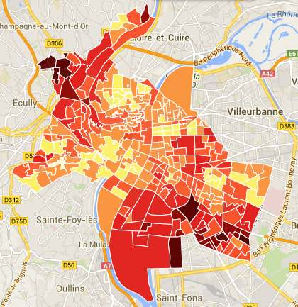 La carte de l'abstention à Lyon : mes voisins votent ils aux
