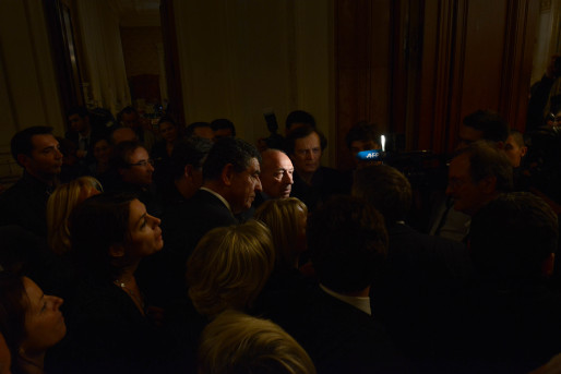 Gérard Collomb ce dimanche 30 mars, réélu maire de Lyon pour un troisième mandat. Crédit : Eric Soudan.
