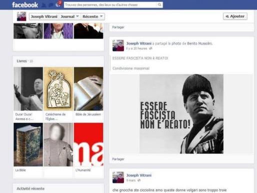 Capture d'écran de la page Facebook de Joseph Vitrani effectuée par le Progrès.
