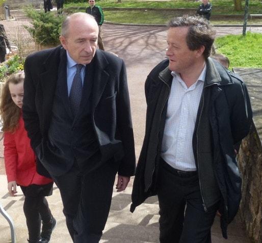 Gérard Collomb et Thomas Rudigoz lors d'une visite de rentrée à Lyon. ©Rue89Lyon