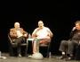 James Ellroy en conférence aux Quais du Polar en compagnie de François Guérif (son éditeur, 2e à droite) et Jean-Paul Gratias (son traducteur, à droite). © Aude David / Rue89Lyon
