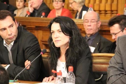 """Nathalie Perrin-Gilbert s'est positionnée comme une opposante de Gérard Collomb défendant des valeurs """"de gauche"""". Ce qui a fait sourire le maire. Crédit : Pierre Maier / Rue89Lyon."""
