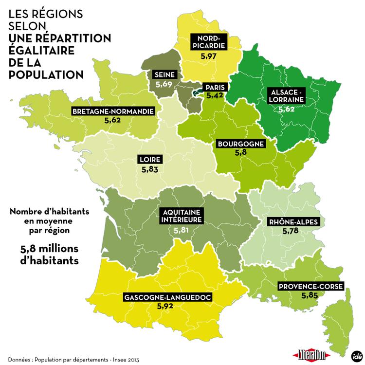 Redecoupage Des Regions Des Cartes De France Imaginees Par Liberation Rue89lyon