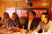 Les candidats Front de gauche pour la région Sud-Est autour de leur tête de liste Marie-Christine Vergiat. A Lyon le 29 avril 2014. DR
