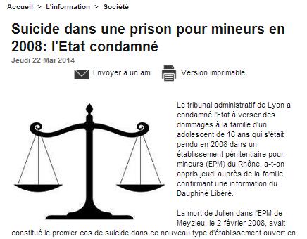 L'Etat condamné après le suicide de Julien à la prison pour mineurs de Meyzieu