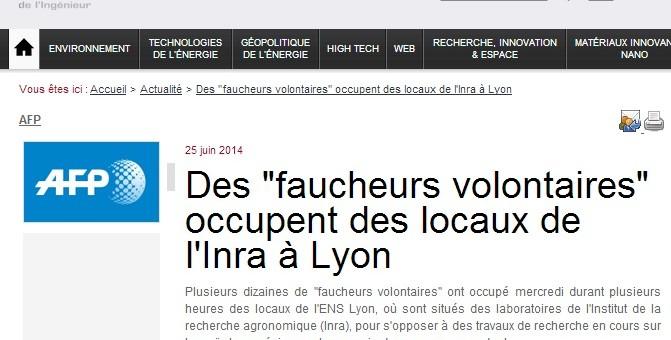 À Lyon, des «faucheurs volontaires» ont occupé des locaux de l'Inra