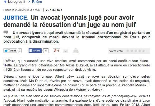 Un avocat lyonnais jugé pour antisémitisme présumé à l'encontre du magistrat Albert Lévy