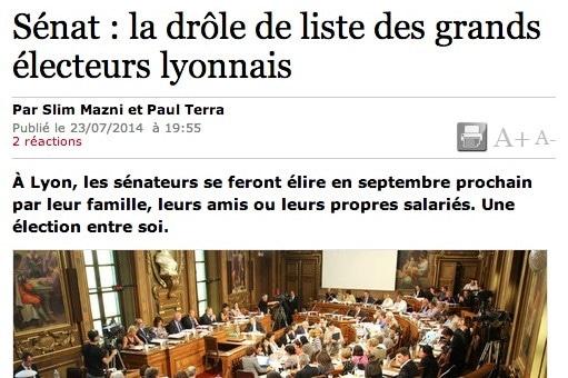 Élections sénatoriales à Lyon : ma femme, ma soeur et mon salarié…