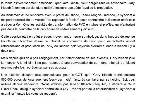 Kem One : la CGT veut obliger l'ancien actionnaire à tenir ses engagements