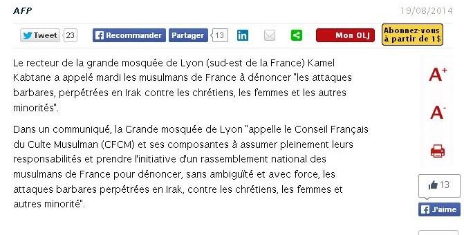 La Grande mosquée de Lyon appelle à dénoncer les violences contre les chrétiens d'Irak