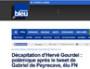 Capture d'écran France Bleu, exécution d'Hervé Gourdel et tweet de Garbiel de Peyrcave