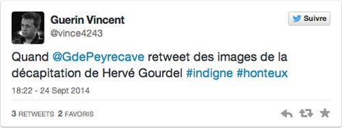 Vincent Guerin réagit au tweet de Garbiel de Peyrcave, suite à l'exécution d'Hervé Gourdel © Capture d'écran Twitter