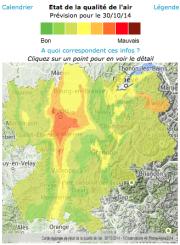 Carte des zones polluées en Rhône-Alpes le 30 octobre. ©Air Rhône-Alpes