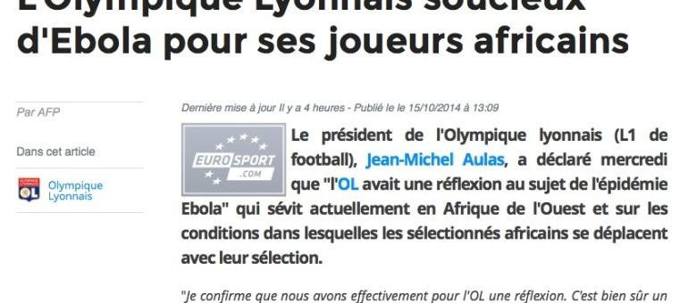 Ebola : l'OL s'inquiète pour ses joueurs africains