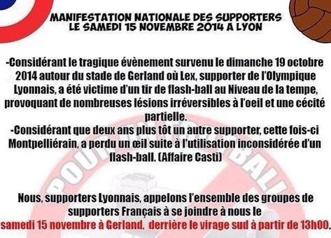 «Pour un football sans flash-ball» : les ultras manifestent à Lyon