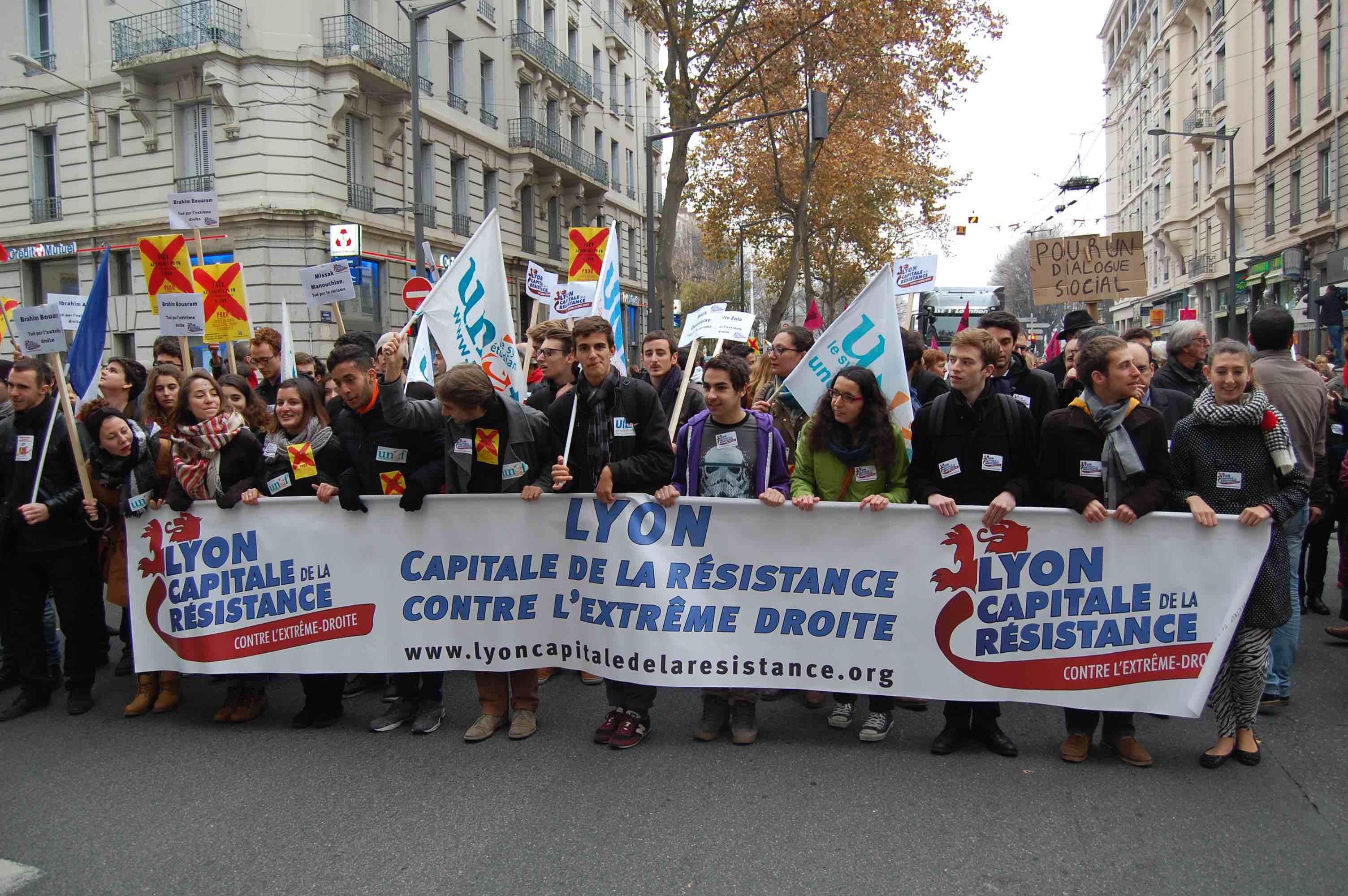Mobilisation du syndicat étudiant de gauche UNEF © BE/rue89Lyon