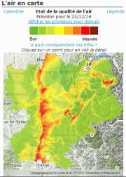 Carte de l' »épisode de pollution » du 23 décembre 2014. Capture d'écran d'Air Rhône-Alpes