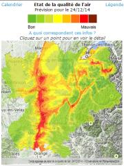 """Carte des """"prévions pollution"""" pour le 24 décembre 2014. Capture d'écran d'Air Rhône-Alpes"""