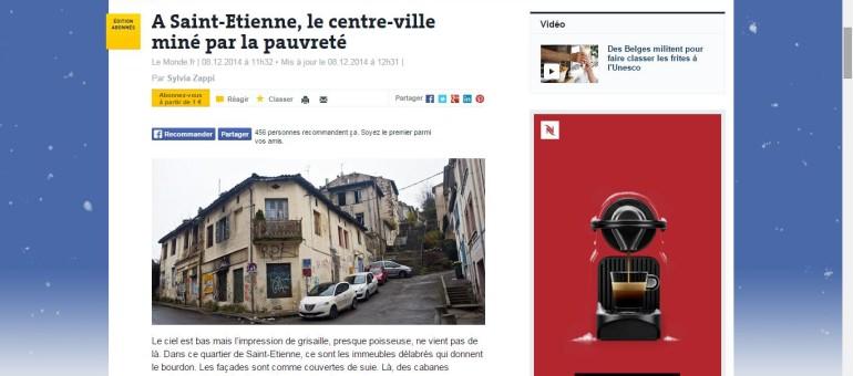 Le centre-ville de Saint-Etienne représentatif de la pauvreté urbaine en France selon Le Monde