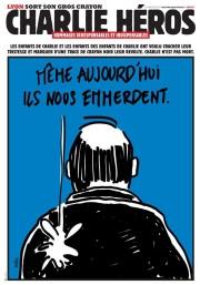 La Une de Charlie Héros, distribué le 13 janvier à Lyon. Par W@lter.
