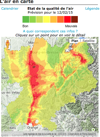 Carte de l'Observatoire Air Rhône-Alpes