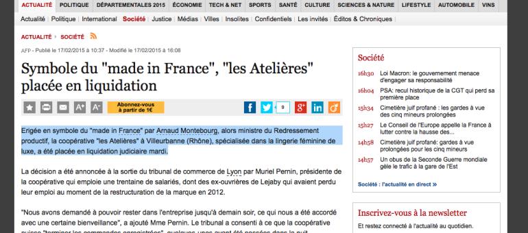 La liquidation des Atelières (ex-Lejaby) prononcée