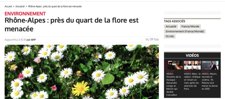 La flore menacée : «cela se passe en Rhône-Alpes, à côté de chez nous !»