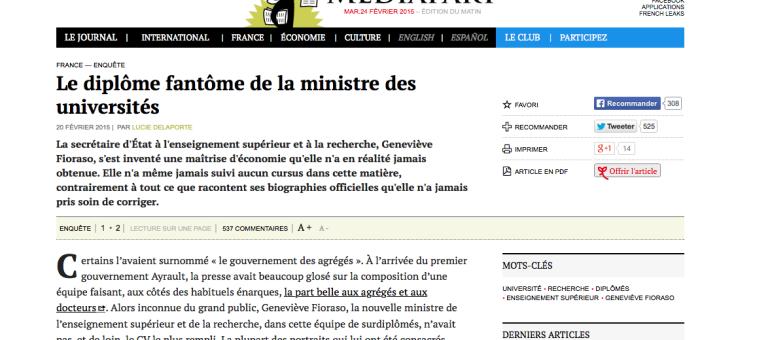 La ministre des universités Geneviève Fioraso s'invente un diplôme