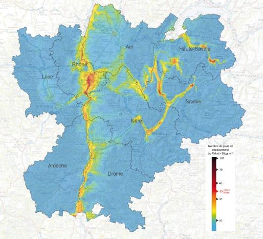 Carte des particules fines PM10 modélisée sur la région Rhône-Alpes_en_2013, en nombre de jour de dépassement réglementaire