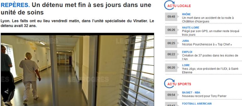 Un détenu se suicide dans une unité spécialisée du Vinatier