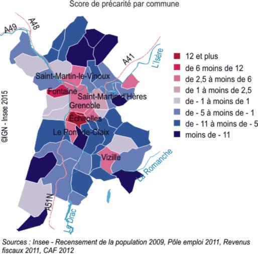 La précarité dans l'agglomération grenobloise © INSEE Rhone-Alpes