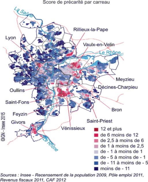 La précarité au niveau infracommunal dans l'agglomération lyonnaise © INSEE Rhône-Alpes