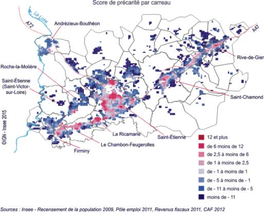 La précarité au niveau infracommunal dans la métropole stéphanoise © INSEE Rhône-Alpes