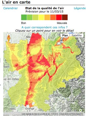 Bulletin de l'observatoire Air Rhône-Alpes du mercredi 11 mars