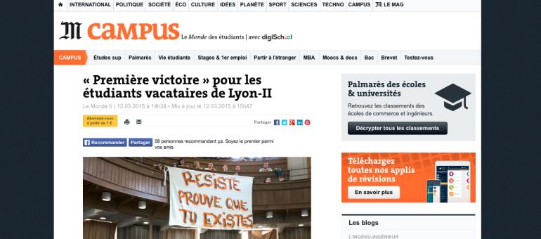 Les vacataires de Lyon 2 obtiennent une «première victoire»