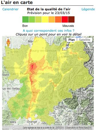 Bulletin d'information de l'observatoire Air Rhône-Alpes ce lundi 23 mars à 10h