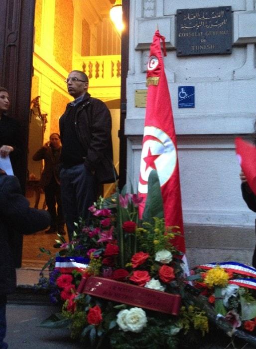 Rassemblement devant le consulat tunisien à Lyon. ©FC/Rue89Lyon