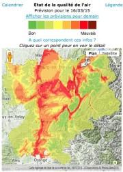 Bulletin d'information d'Air Rhône-Alpes le lundi 16 mars à 12h. Capture d'écran.