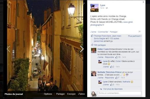 """Capture d'écran de la page Facebook """"Lyon""""."""
