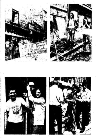 Extraites d'une brochure de 1975 du Comité Populaire sur la Montée de la Grande Côte, photos de manifestations, de destructions, d'enchaînements et d'arrestations