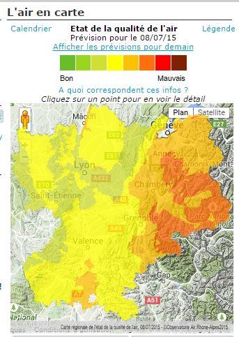 Capture d'écran carte air-Rône-Alpes du mercredi 8 juillet 2015