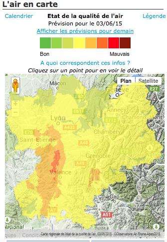Pollution en Rhône-Alpes mercredi 3 juin. Capture d'écran Air Rhône-Alpes.