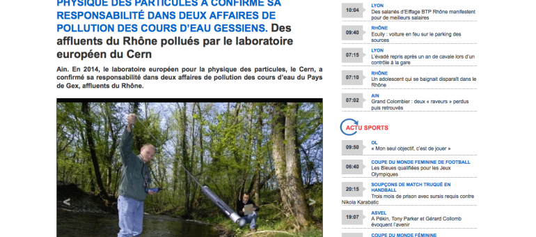 Le CERN responsable de pollutions dans des rivières de l'Ain