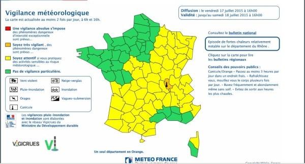 Capture d'écran carte météo france des alertes canicules