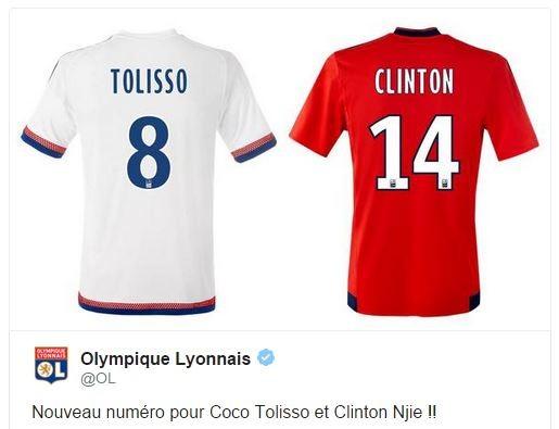 Capture d'un tweet de l'OL, qui a annoncé le nouveau numéro de Tolisso en même temps que celui, moins lourd en symbole, de N'jie