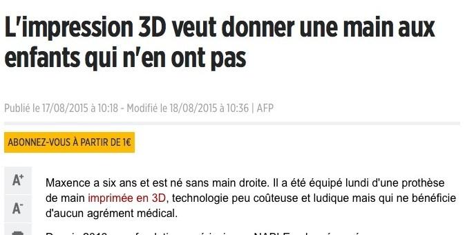 Un enfant d'Isère reçoit une main réalisée en imprimante 3D